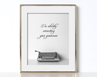 Grammar Digital Download Printable Art Typewriter Typography Prints Gift for Writers Typewriter Art Typewriter Print Gift for Authors Writer
