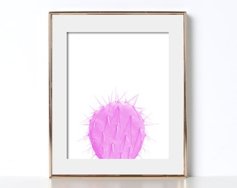 Bright Colors Office Print Digital Download Desert Art Desert Poster Cactus Poster Cactus Print Pink and White Poster Modern Abstract Art