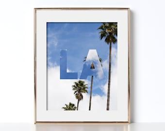 Row Of Palm Trees Los Angeles Digital Download Printable Art Typography Print Traveler Art City Art Destination Filmmaking Tinsel Town Noir