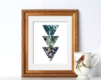 Nature Texture Triangle Prints Digital Download Printable Art Kitchen Decor Rock Print Botanical Print Natural Prints California Wall Art