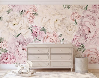 Large Floral Wallpaper Etsy