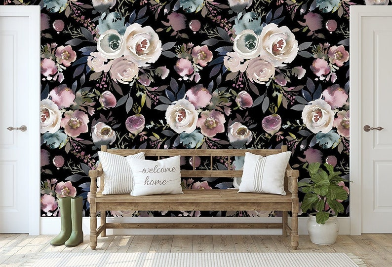 Adeline Dark Bouquet  KM035  Floral Self Adhesive Wallpaper image 0