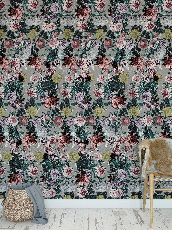 Botanical Wallpaper Vintage Floral Oil Pint Removable Self Etsy