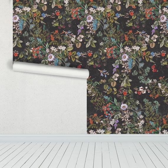 Vintage Botanical Dark Floral Distressed Peel And Stick Etsy