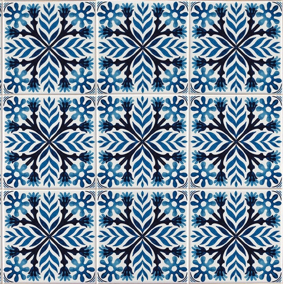 Tile Stickers Vinyl Stickers Self Adhesive Removable Blue Indigo Portuguese Azulejo Full Tile Floor Flooring Kitchen Bathroom Stairs T034