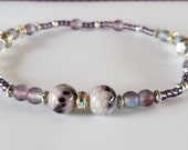 Beach Anklets Anklets for Women Summer Boho Silver Seed Bead Anklets Lampwork Glass Beads Ankle Bracelet Purple Stretch Gemstone Anklets