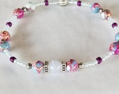 Beach Anklets for Women FUN Imperial Jasper Sea Sediment Beads Stretch Anklet Purple Blue Stone Anklets Ankle Bracelet Womens Anklets Summer