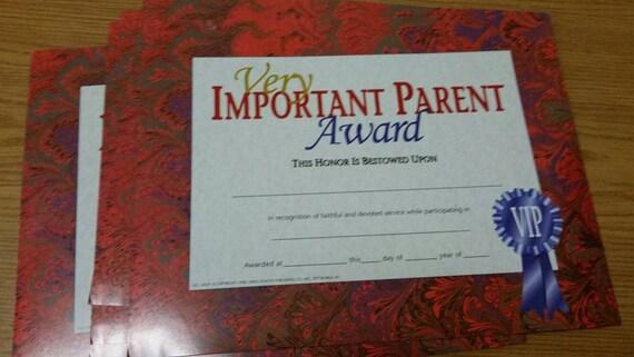 important parent award certificate etsy