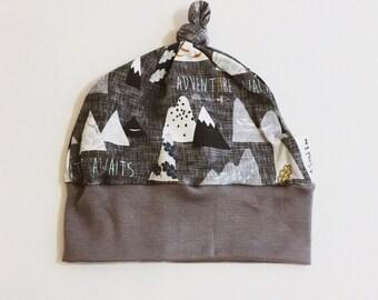 a3ffc9920e3 Baby knot hat adventure awaits fabric