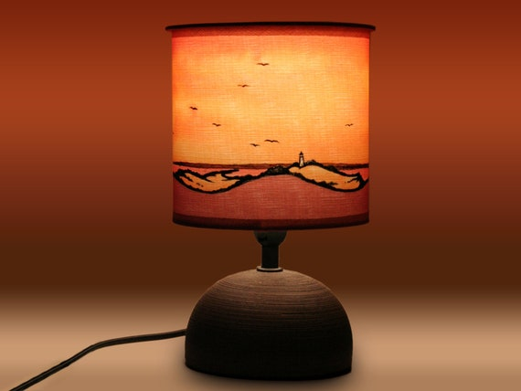 Rood Licht Lamp : Tafel lamp hiddensee island view silk schilderij etsy