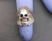 Sterling Silver Indian Skull Ring with Headdress