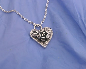 Textured Heart Necklace with  Rose