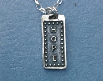 Sterling Silver Retangular Hope Necklace