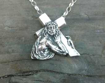 Jesus Carrying Cross in Solid Sterling Silver necklace