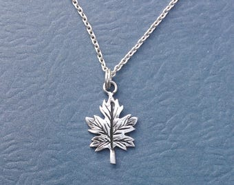 Sterling Silver Leaf Charm Only or Full Necklace