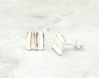 minimalist brushed square studs flat square studs sterling silver studs frosted square stud earrings elegant textured silver studs