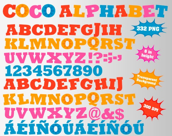Coco Movie 2017 Alphabet Numbers And Symbols 332 PNG 300
