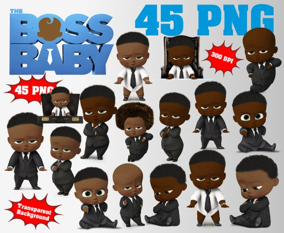 African The Boss Baby Clipart Logo Included 45 Png 300 Dpi Transparent Background Boss Baby Afro Party Decorations African Boss Baby
