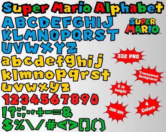 Super Mario Alphabet Numbers And Symbols 332 Png 300 Dpi Etsy