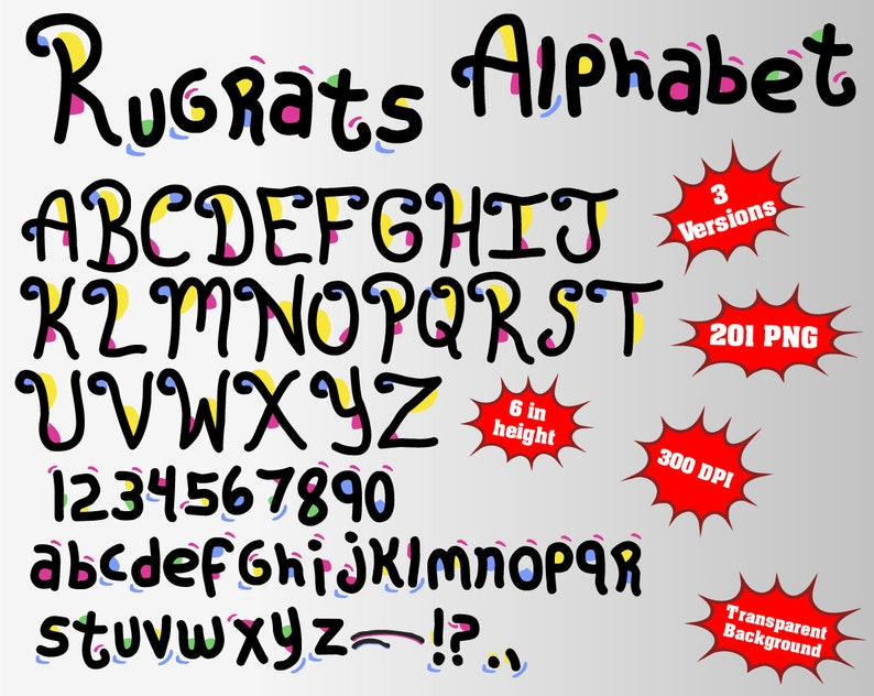Rugrats Alphabet, Numbers and Symbols | 269 PNG | 300 dpi | Transparent  Background | 4 Colors | Rugrats Birthday, Rugrats Party, Decoration