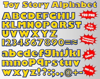 Toy Story Full Alphabet, Numbers and Symbols | 720 PNG | 300 dpi | Transparent Background | 5 Colors Version | Toy Story Birthday Party