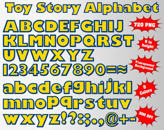 Toy Story Full Alphabet Numbers And Symbols 720 Png 300 Etsy