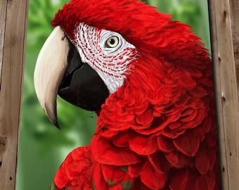 SCARLET MACAW - Tropical Bird Print - PARROT Art Print - Macaw Prints - Red Parrot Poster - Macaw Painting - Parrot Wall Art Print
