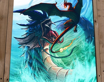 Charizard Art Print Poster GYARADOS CHARIZARD Illustration Painting