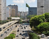 Apartment Gift, Extra Large Wall Art, Sao Paulo Gift, Sao Paulo Skyline, City Photography, Sao Paulo Photo, Urban Wall Art, Traffic Photo