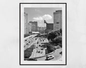 Sao Paulo Urban Black And White Poster Wall Art - 100% Recyclable Zero Waste Packaging