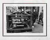 New York Subway Print, Spring Street Soho New York, New York Street Photography, New York Photography Print, Black And White Print, Poster