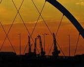 Glasgow Skyline Print, Glasgow Scotland Print, Glasgow Print, Glasgow Poster, Squinty Bridge, River Clyde, Glasgow Wall Art, Glasgow Crane