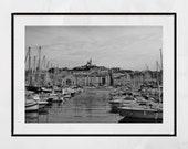 Marseille Vieux Port Photography Print, Marseille Print, Marseille Gift, Marseille Wall Art, Europe Photography, Notre-Dame de la Garde
