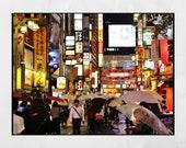 Tokyo In The Rain, Shinjuku Poster, Tokyo Photography Print, Japan Photography, Tokyo Poster, Tokyo Print, Tokyo Wall Art, Tokyo Gift, Decor