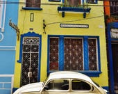 Apartment Gift, Street Scene, Pictures of Salvador, Salvador de Bahia, Architecture Print, Vintage Beetle, Beetle Print, Vintage Car