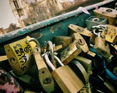 Paris Love Lock Bridge Photography Print Notre Dame