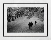 Autumn Fall Glasgow Queen's Park Black And White Photography Print Wall Art
