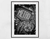 Paris Metro Sign, Paris Photography, Paris Print, Paris Wall Art, Paris Decor, Apartment Gift, Gallery Wall Prints, Home Decor Wall Art