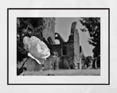 Dumfries Poster Sweetheart Abbey Rose Black And White Photography Print