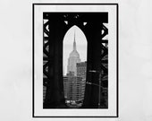 Empire State Building Print, New York Photography Print, DUMBO New York, Manhattan Bridge, New York Poster, New York Print, Home Decor