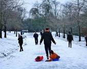 Sledging In The Snow At Kelvingrove Park Photography Print