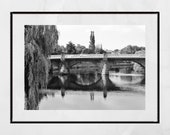 Dumfries Scotland River Nith New Bridge Black And White Photography Print Poster