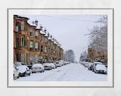 Glasgow Tenements, Glasgow Print, Snow Print, Pollokshields Glasgow Photography Print, Glasgow Gift, Strathbungo Glasgow, Glasgow Poster