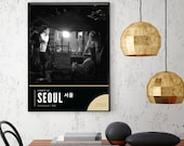 Atmospheric Seoul Street Scene, Hongdae Wall Art, Korean Food Print