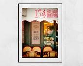 Paris Cafe Print, Paris Cafe Poster, Paris Bistro, Montparnasse Paris, Paris Photography Print, Paris Street Print, Paris Photography, Gift