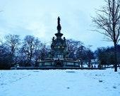 Glasgow Kelvingrove Park Stewart Memorial Fountain In The Snow Photography Print