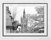 Glasgow University Picture, Glasgow West End Print, Kelvingrove Park, Glasgow Photography Print, Glasgow Poster, Black And White Print