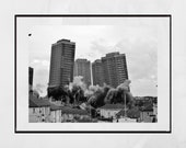 Red Road Flats Glasgow, Brutalist Architecture, Glasgow Photography Print, Brutalist Print, Glasgow Print, Demolition, Springburn, Gift