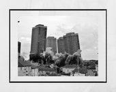 Glasgow Red Road Flats Demolition Springburn Brutalist Architecture Black And White Photography Print