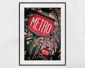 Paris Metro Sign, Paris Photography, Paris Wall Art, Paris Print, Paris Decor, Apartment Gift, Gallery Wall Prints, Home Decor Wall Art